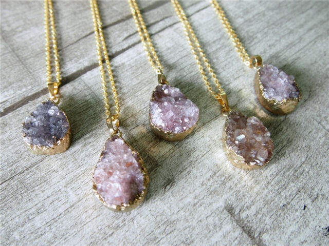 Amethyst Drusy Druzy Pendant Gold Plating Gem Teardrop Purple Gemstone Necklace