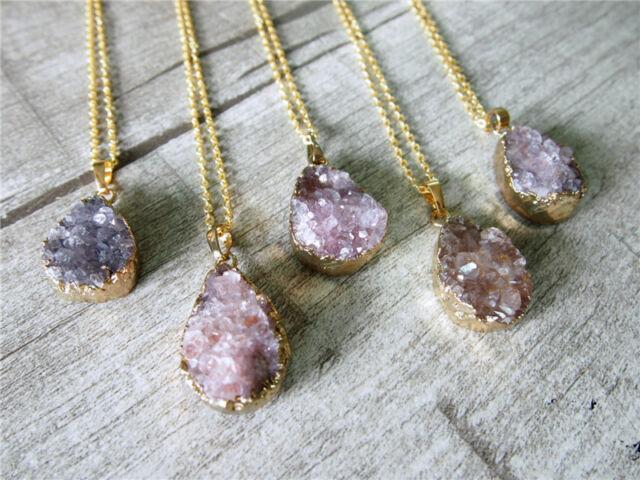Amethyst Drusy Druzy Pendant Gold Plating Gem Teardrop Purple Gemstone Necklace