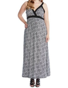 26887019d0 NEW Karen Kane Plus Size Print Liquid Knit Banded Maxi Dress 0X Made ...