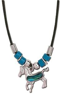 Standing-Horse-NECKLACE-amp-Chain-Paua-Shell-Blue-Lead-amp-Nickel-Free-N-42