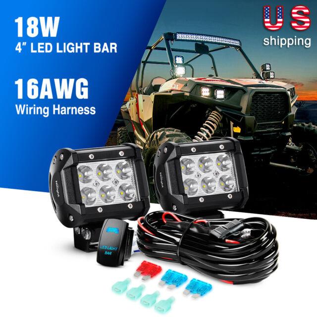Nilight 2pcs 18w 4 in LED Light Bar Spot LED Fog Lights Wiring Harness on