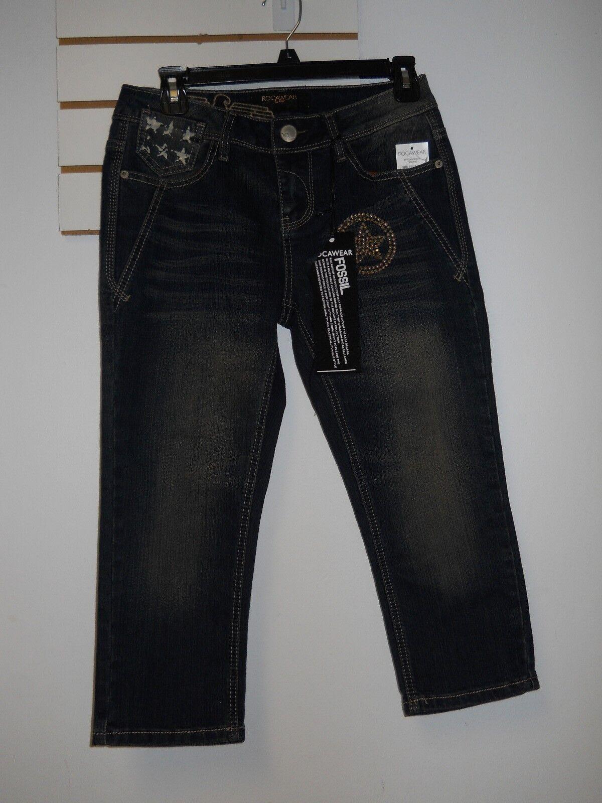 Roca Wear New Womens Dark bluee Jeans Capris 7 Juniors NWT