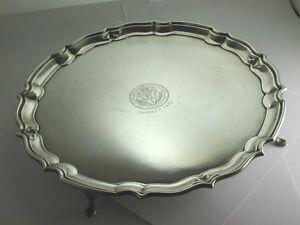 Superb-Vintage-1934-Heavy-Solid-Silver-034-Pie-Crust-034-Salver-Tray-1935-034-CS113
