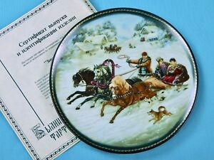Vintage-Soviet-Russian-Fedoskino-Limited-Edition-Winter-Troyka-Porcelain-Plate