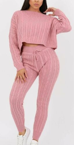 Womens Ladies Cable Knitted Casual Crop Top Baggy Warm 2pc Loungewear Set Suit