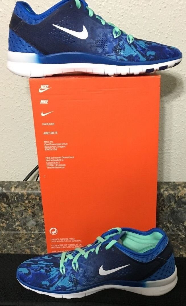 NIKE FREE TR 5 PRINT WOMEN TRAINING SHOE, SIZE 6 DEEP ROYAL BLUE, 704695403, NIB