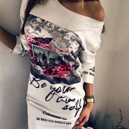 Women One Shoulder Bodycon Long Sleeve Evening Summer Cotton Picture Print Dress