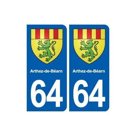 64 Arthez-de-Béarn blason autocollant plaque stickers ville arrondis