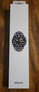 Mystic Black Samsung Galaxy Watch3 SM-R840 45mm with Black Leather Strap