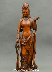 Collect-China-boxwood-Hand-carved-Buddhism-Guanyin-Kwan-yin-goddess-statue