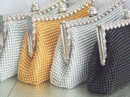 Sparkly Beaded Crystal Diamante Bridal Wedding Prom Clutch Handbag Purse Bag UK