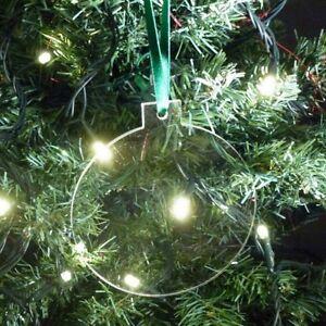 Clear-Bauble-a-forma-di-albero-di-Natale-Decorazioni-con-nastro-di-raso-verde-confezione-da-10
