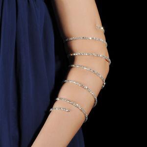 Upper Arm Cuff Silver Diamante Diamonds