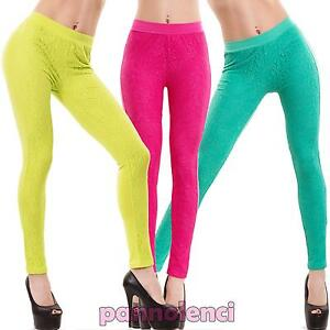 0af83d395945 Caricamento dell'immagine in corso Pantaloni-donna-leggings-pizzo-skinny- slim-colorati-elasticizzati-