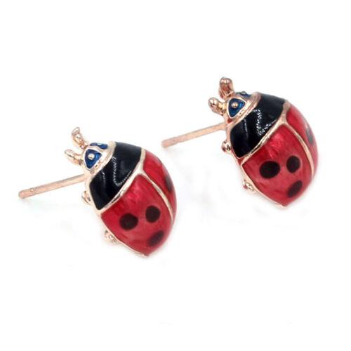 Cute Insert Earrings Exquisite Paint Stud Earrings Red Oil Ladybug Ear Studs##