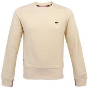new arrival 5b509 a5202 Details about Lacoste Live Crew Neck Sweater # SH3645 51 056 Slim Fit Cream  Men SZ XS - M