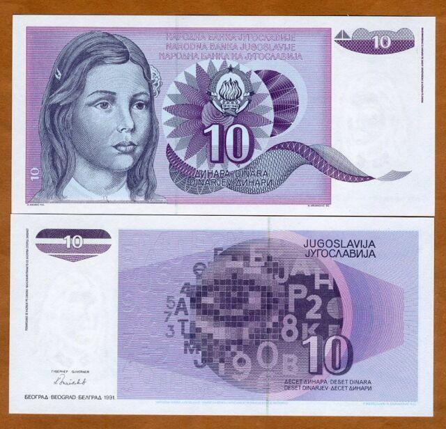 Yugoslavia, 10 Dinara, 1991, P-107A, UNC > Not Issued, Scarce