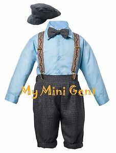 Vintage-Baby-Boys-Toddlers-Tuxedo-Knickers-Outfit-Houndstooth-Blue-and-Ivory