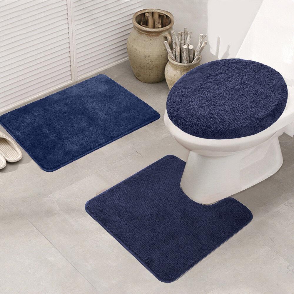 3pcs Bathroom Rug Set Bath Mat Non Slip Pedestal Soft Bath