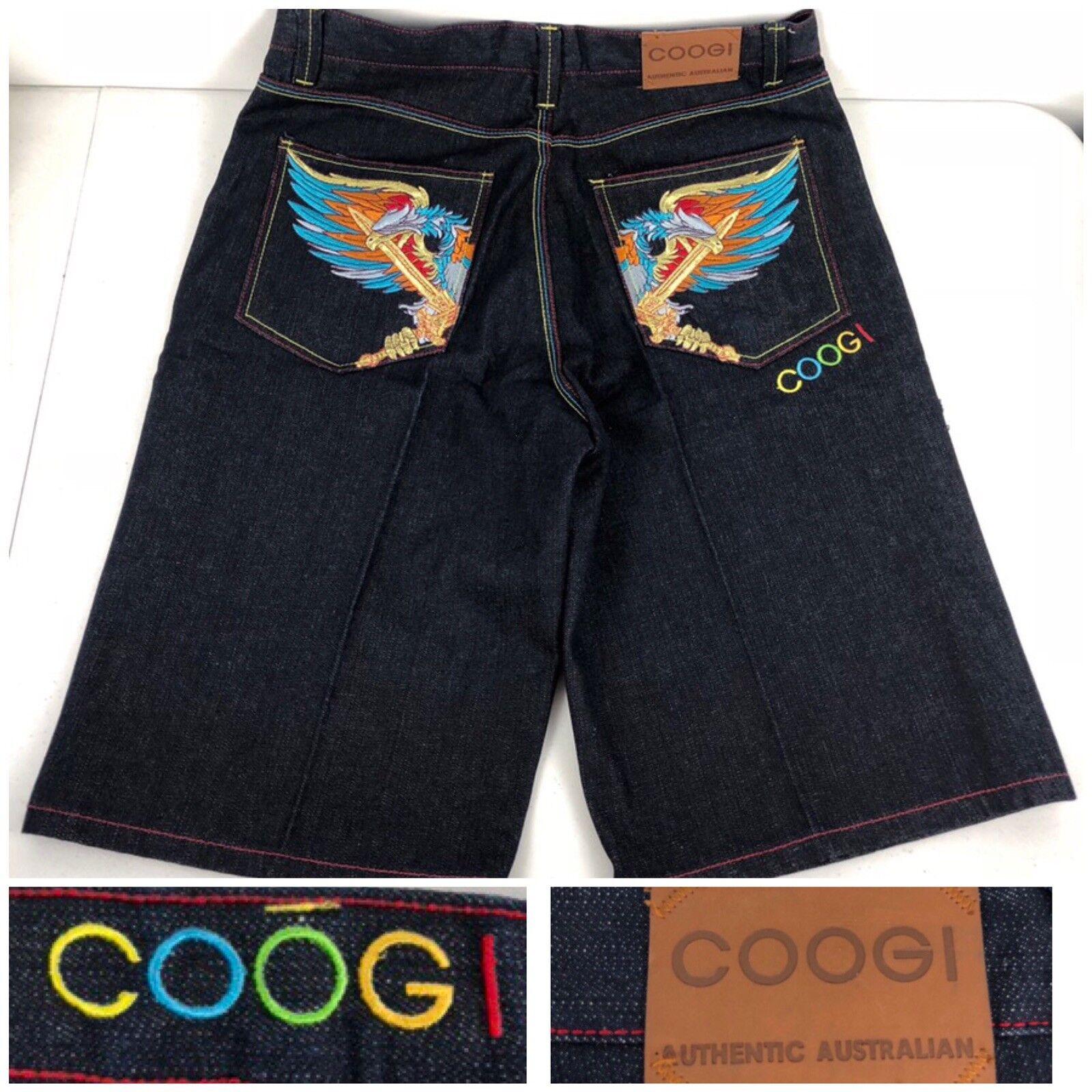 Coogi Mens 36 X 14 Denim Shorts Embroidered Multicolor EUC