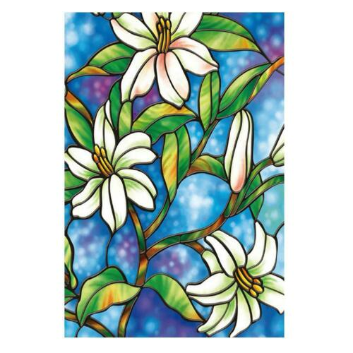 Lily Flower Type 3D Glass Wall Sticker Self-adhesive Window Film Home Decor #HE