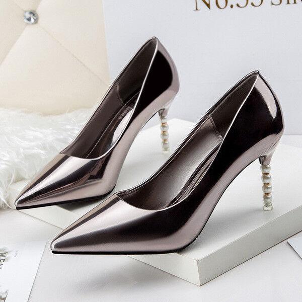 Zapatos de salón 10 cm joya brillante tacón tacón tacón de aguja elegantes plata mate como  Mejor precio