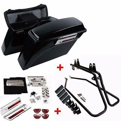 Hard Saddlebags Saddle Bags W//Black Conversion Brackets For Harley Softail Bracket