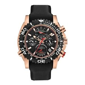 Nuevo-BULOVA-para-hombre-Cronografo-Precionist-Uhf-Negro-Reloj-De-Oro-Rosa-98b211-RRP-699