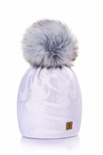 Women Winter Beanie Hat Knitted Large Pom Pom CRYSTAL Ladies Fashion Soft Fleece