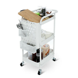 3 Tier Multipurpose Rolling Utility Cart Metal Storage Diy Pegboard W 4 Wheels Ebay