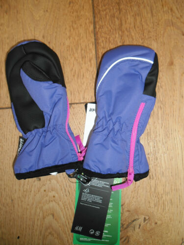 H /& M PINK PURPLE ECO THINSULATE WATER REPELLANT CUFFED SKI MITTENS BABIES 18 24