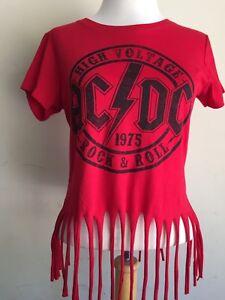 d9fa38ecfe0 AC/DC Rock & Roll 1975 Band Logo Crop Top Fringed Hem Loose Thread T ...