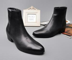 bfbe247eb41 Fashion Mens Leather Chunky Heel Chelsea Pointy Toe Side Zipper ...