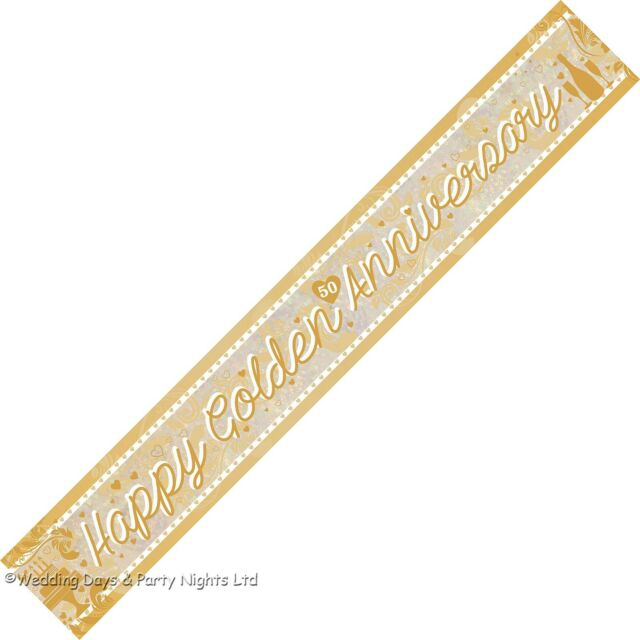 9ft Sparkly Happy 50th Golden Wedding Anniversary Party Banner Wall Decoration