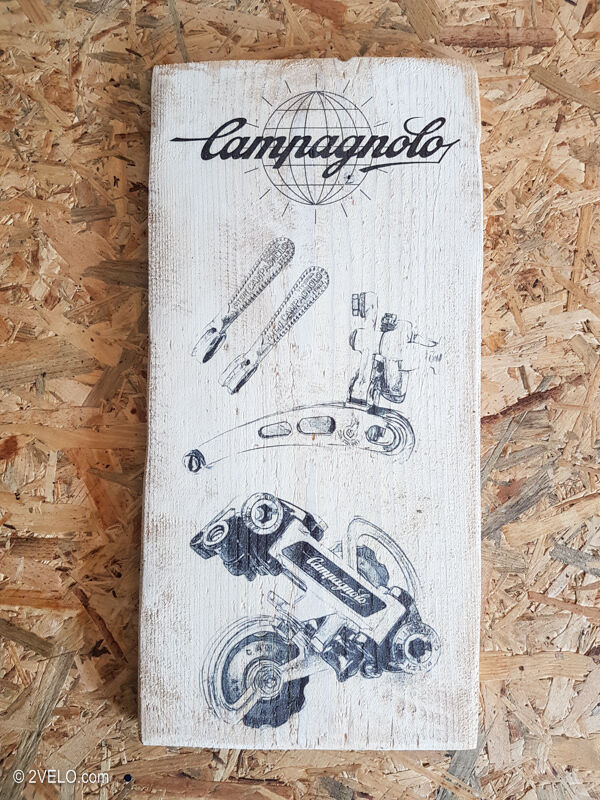 Cycling wood print, Campagnolo SR group, vintage style poster,  retro ads  the classic style