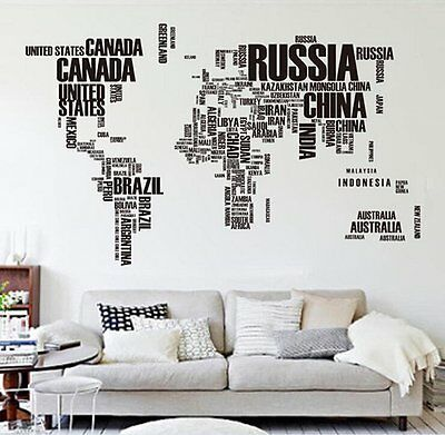 Letters World Map Quote Room Decor Art Removable Wall Sticker