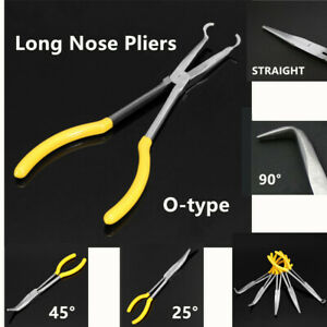 """0 25 45 90 Degree Ring Shape 11/"""" Straight Bent Long Needle Nose Pliers Stainless"""
