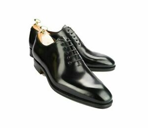 Chaussures-a-la-main-en-cuir-noir-classiques-Oxford-Gentlemen-pour-hommes-faites