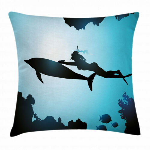 Dolphin Throw Pillow Cases Cushion Covers Home Decor 8 Sizes by Ambesonne