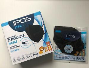 FFP2 Atemschutzmaske Schutzmaske Kinder, schwarz IPOS EN149:2001 + A1:2009 NEU