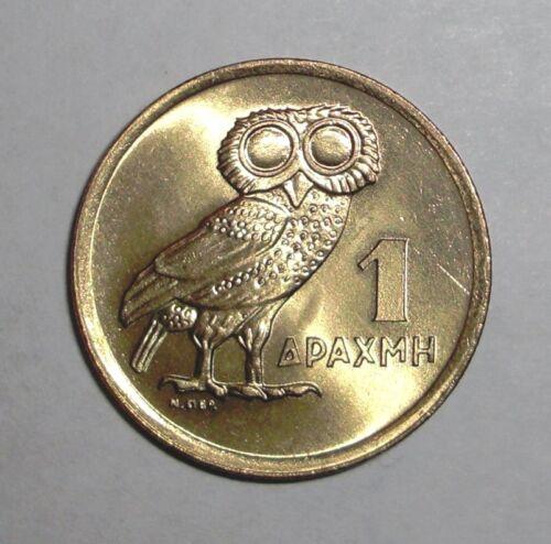 Owl 1973 Greece Greek 1 drachma animal bird wildlife coin