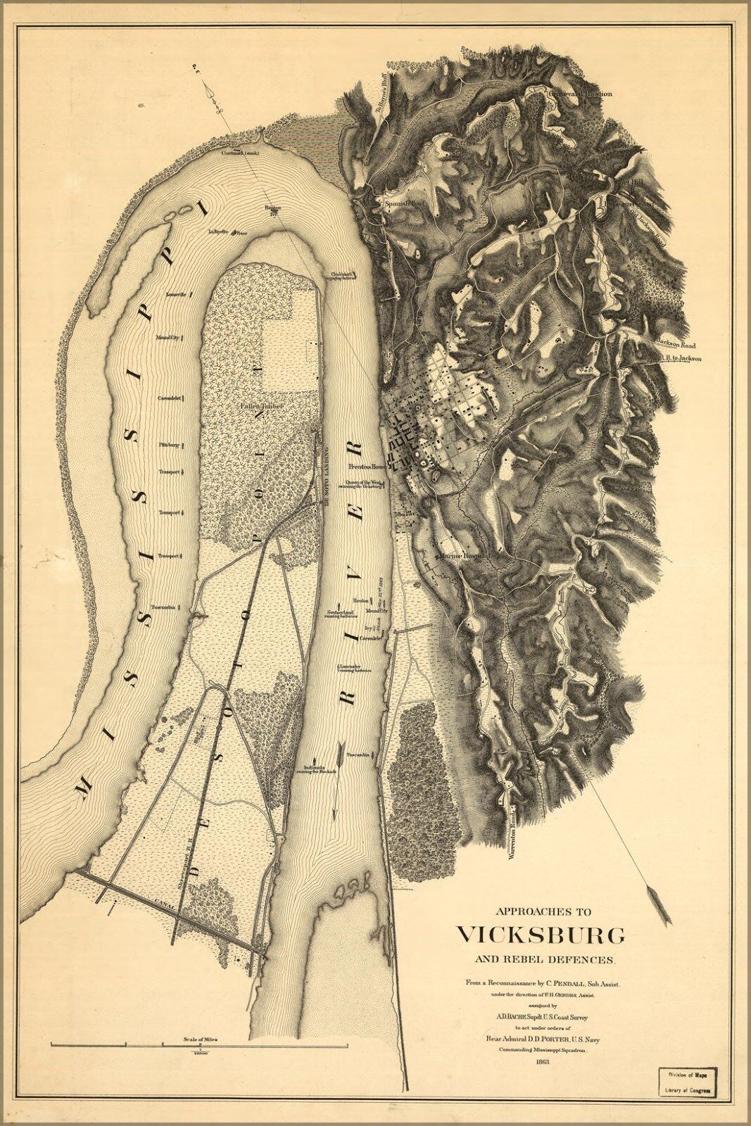 Poster, Many Größes; Map Of Vicksburg Approaches & Rebel Defences 1863