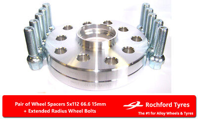 Bolts For Alfa Romeo 159 05-11 Spacer Kit 5x110 65.1 2 Wheel Spacers 15mm