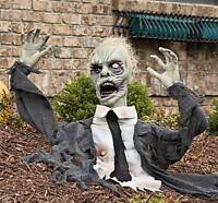 Halloween Outdoor Ground Breaker Zombie W/ Flashing Eyes Turning Head & Sound