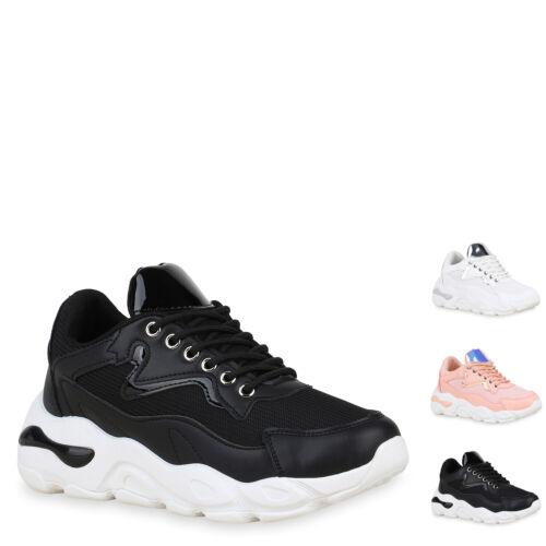 Damen Plateau Sneaker Lack Holo Turnschuhe Schnürer Plateauschuhe 897154 Hot