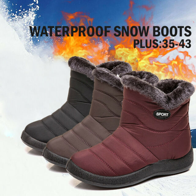 d4dd3aaba Women Winter Warm Ankle Snow Boots Fur Side Zip Waterproof Slip On Flat  Shoes