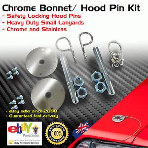 Hair Pin Bonnet Hold Down Safety Pins Pair Chrome Lock Universal Short Lanyard