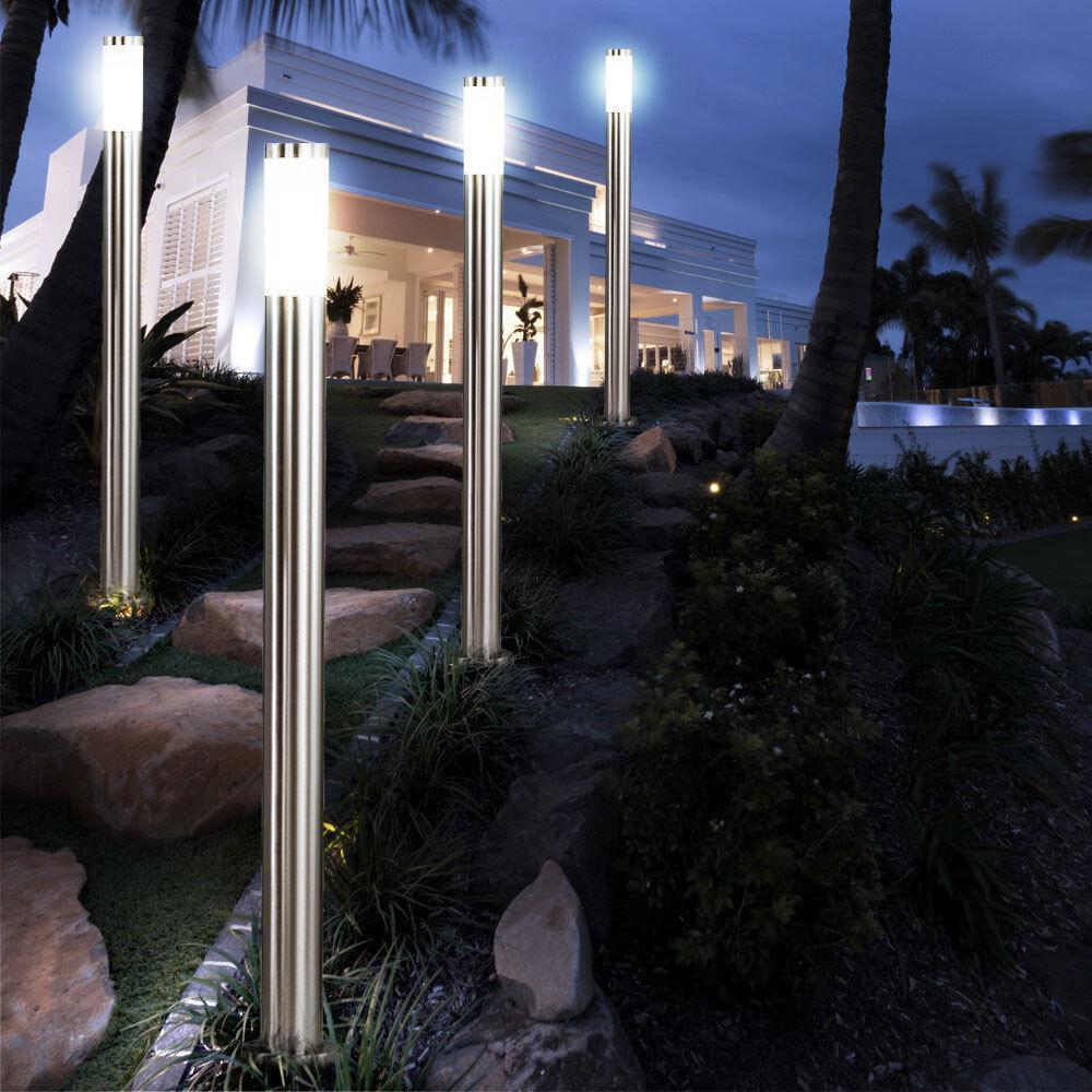 Casa De Luces Led 4x Exterior Iluminación De Jardín Acero estándar lámparas de pie 110 Cm