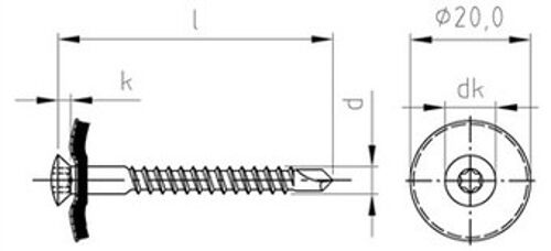 9388 Spenglerschrauben Dichtscheibe 20mm Edelstahl A2 Torx TX Art