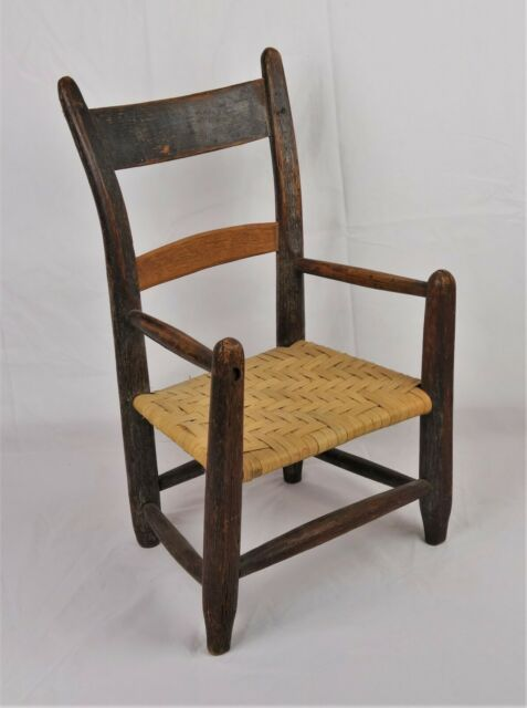 Antique Primitive Folk Art Child's Doll Chair Patina Wood Wicker Seat